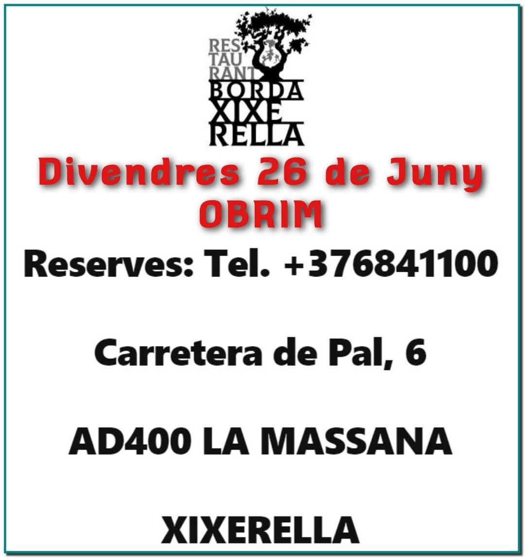 Aquest divendres dia 26 de Juny obrim de nou ja podeu reservar a la Borda Xixerella